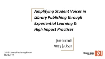 Other Scholarly Content | Amplifying Student Voices in Library