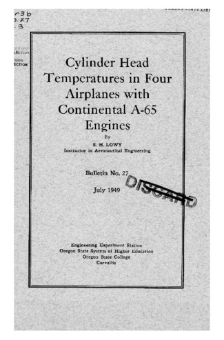 Technical Report | Cylinder head temperatures in four airplanes with
